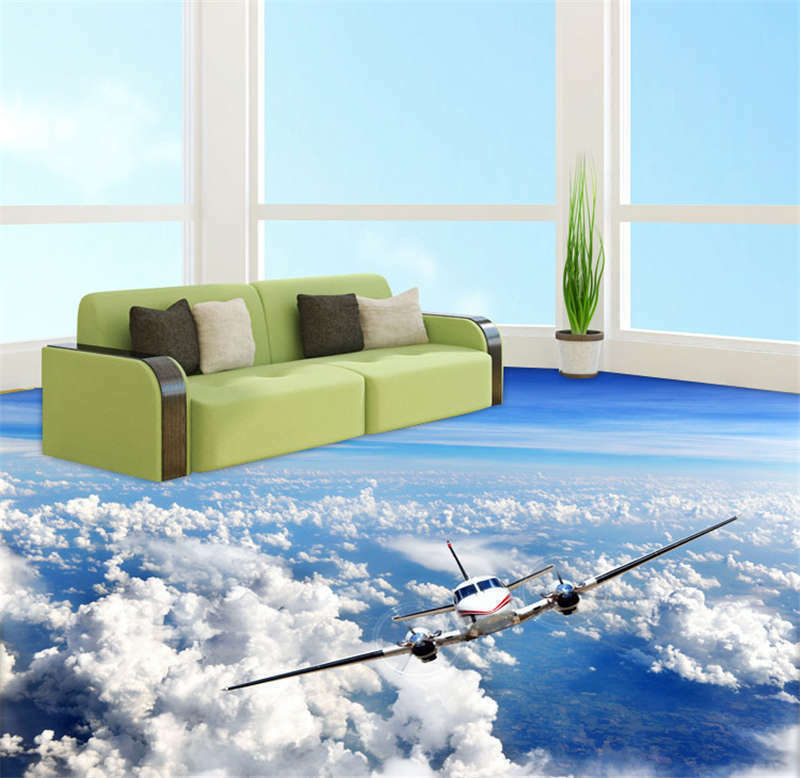 Flight aircraft sky clou 3d floor mural photo flooring for Bathroom floor mural sky