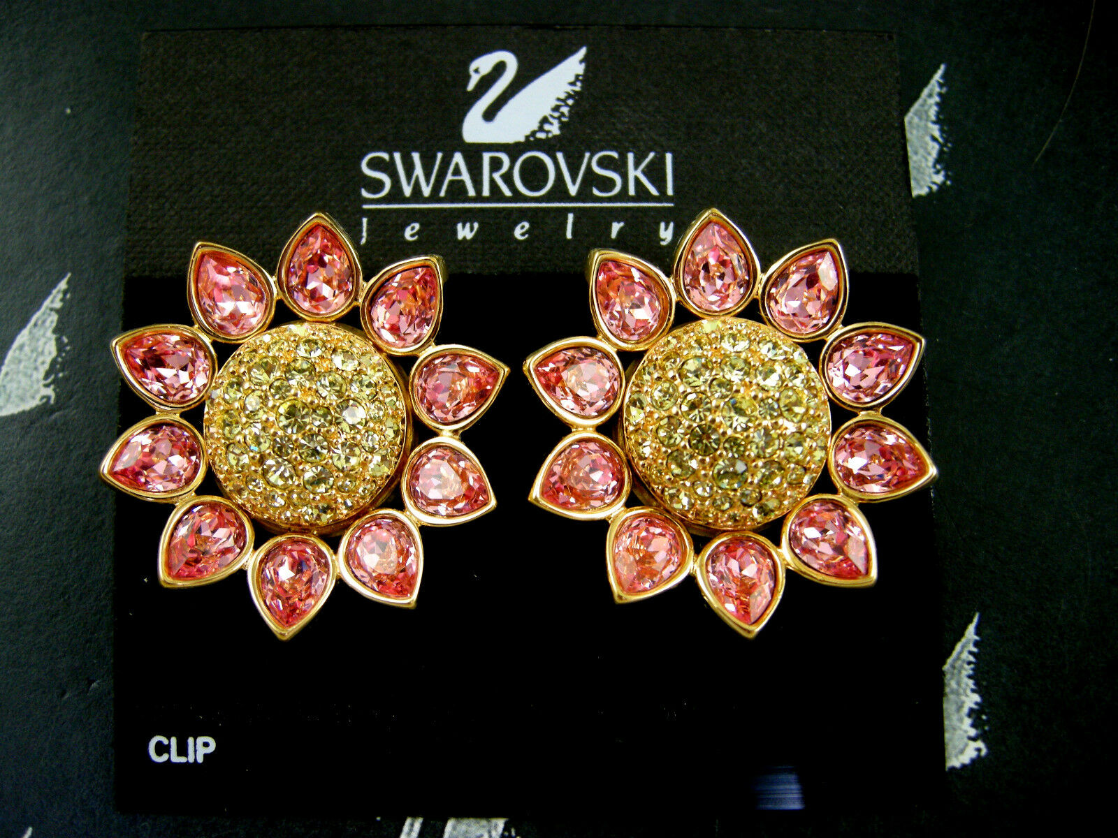 Signed Swarovski Rose Crystal Sunflower Clip Earrings Retired Rare New 1 Of 12only Available