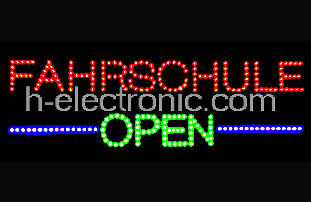 led schild fahrschule open neon reklame xxl blinkfunktion durch schalter steuer eur 89 90. Black Bedroom Furniture Sets. Home Design Ideas