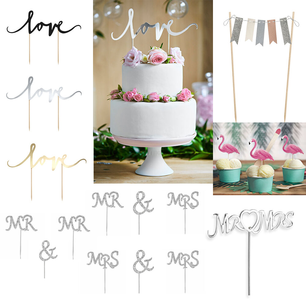 WEDDING / PARTY Cake Toppers, \'Love\', Flamingos, Bunting, Cake Picks ...