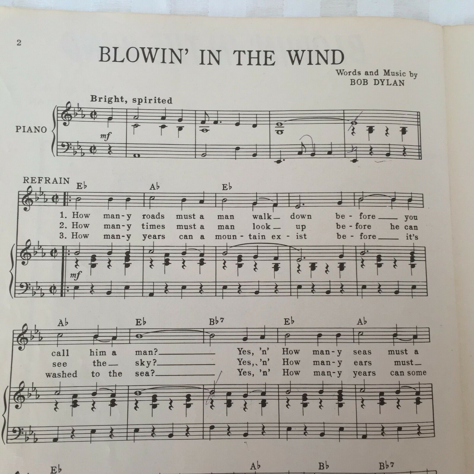 Bob Dylan Blowin In The Wind The Chad Mitchell Trio Sheet Music 1962