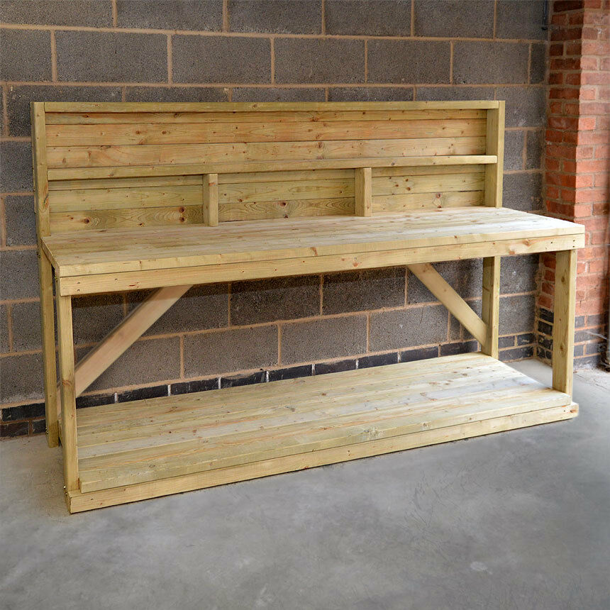 wooden work bench with back panel heavy duty hand made