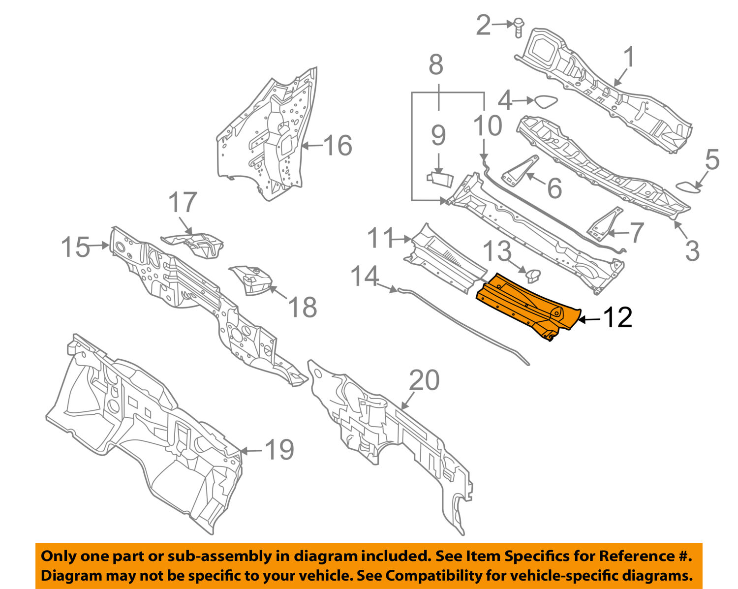 Nissan Oem 04 15 Titan Cowl Panel Windshield Wiper Motor Cover Left 2012 Engine Diagram 1 Of 1only 3 Available