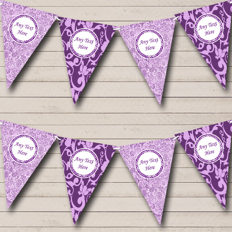 Cadbury Purple Vintage Damask And Fl Personalised Wedding Bunting Banner 1 Of 1free Shipping See More