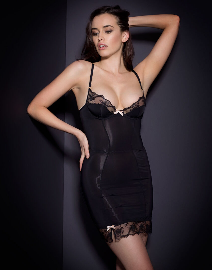 agent provocateur joseline slip in black stretch satin 32c bnwt rrp. Black Bedroom Furniture Sets. Home Design Ideas
