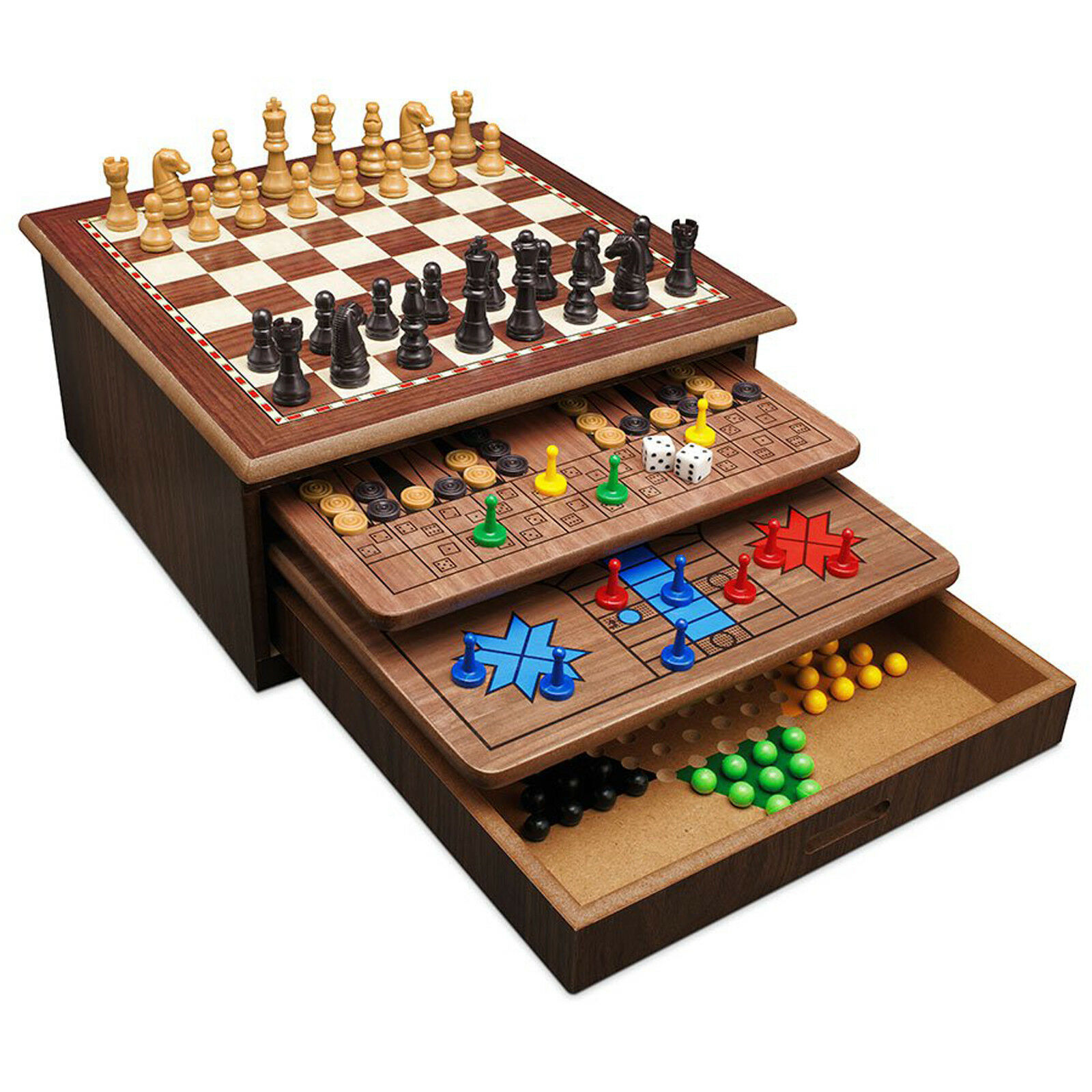 10 In 1 Wooden Board Games House Set Chess Checkers