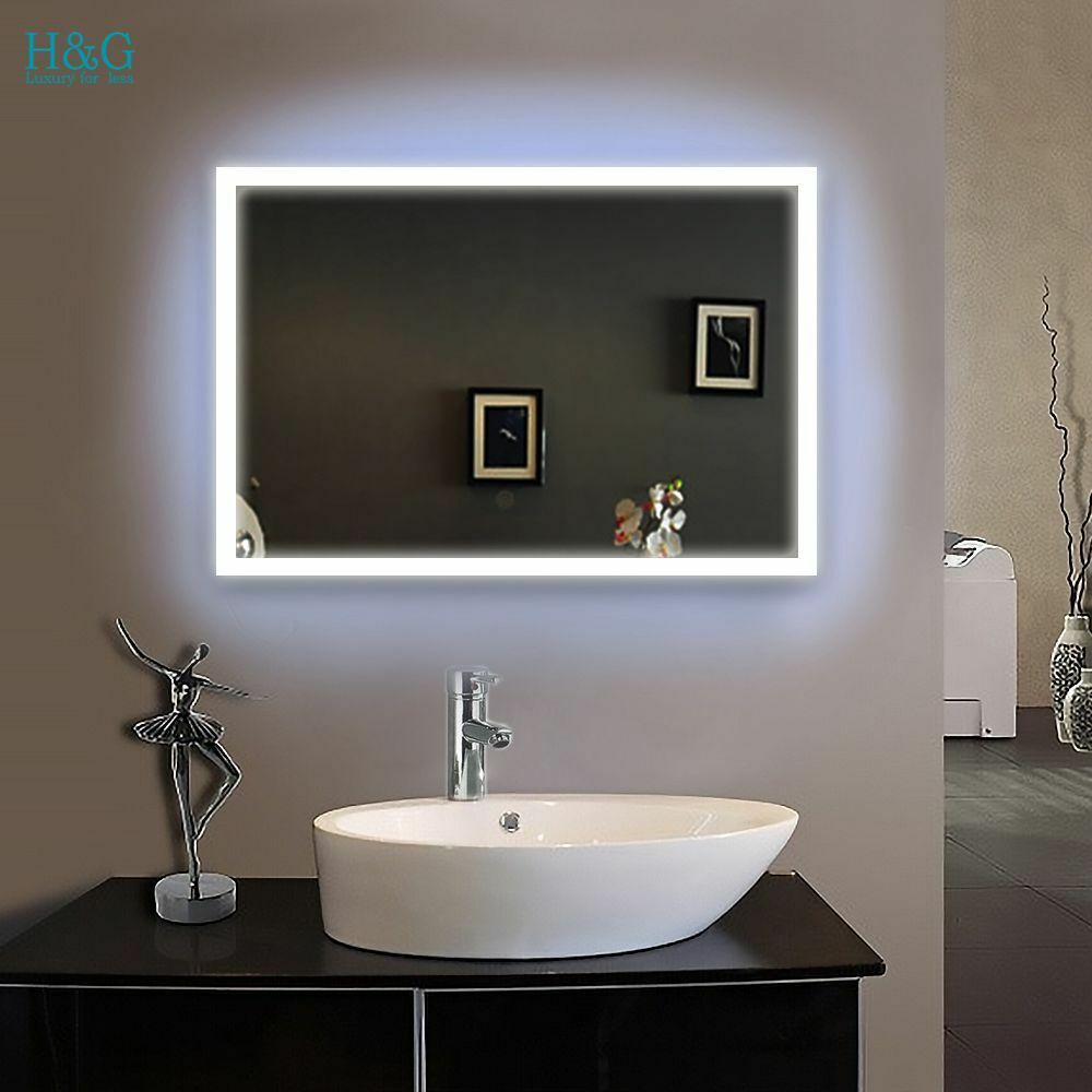 Illuminated led bathroom glass mirror 600 x 800mm wall hung ip44 moden s102 picclick uk for Illuminated mirrors for bathrooms