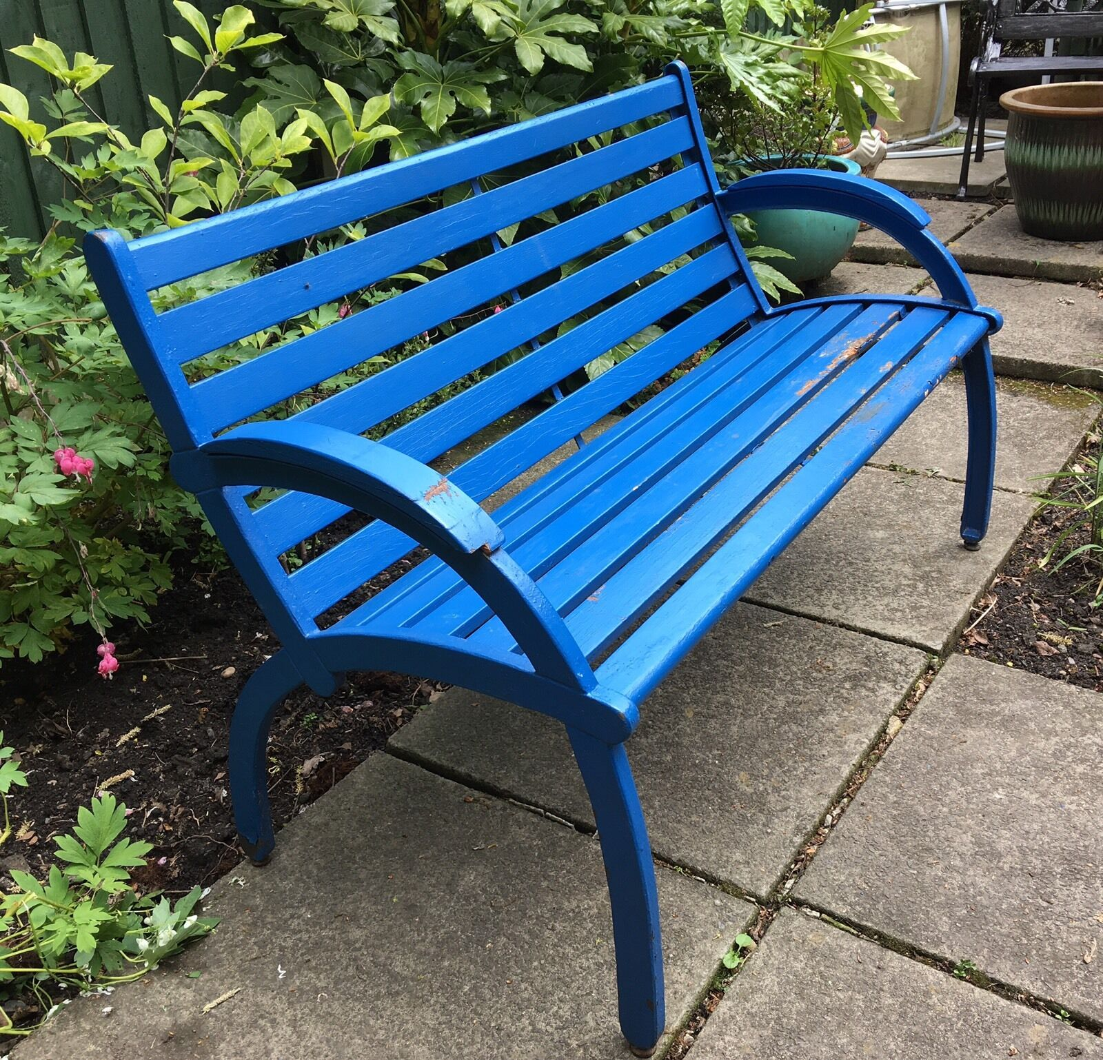 Vintage cast and wood slat blue painted garden bench 30 for Painted benches outdoor