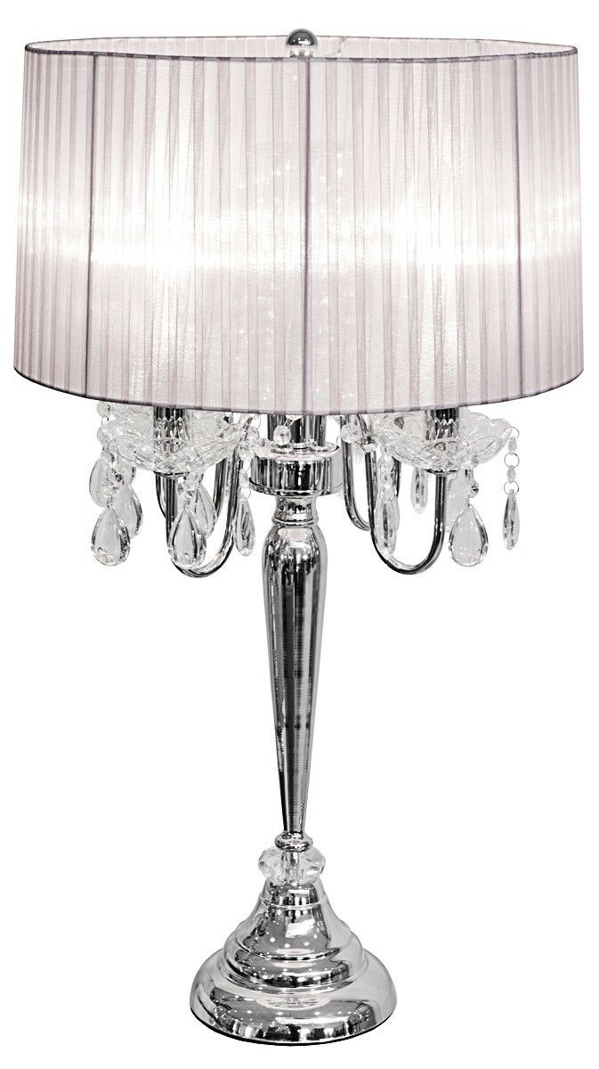 New crystal droplet 4 light bedside table lamp bedside for Bedside table lamp shades