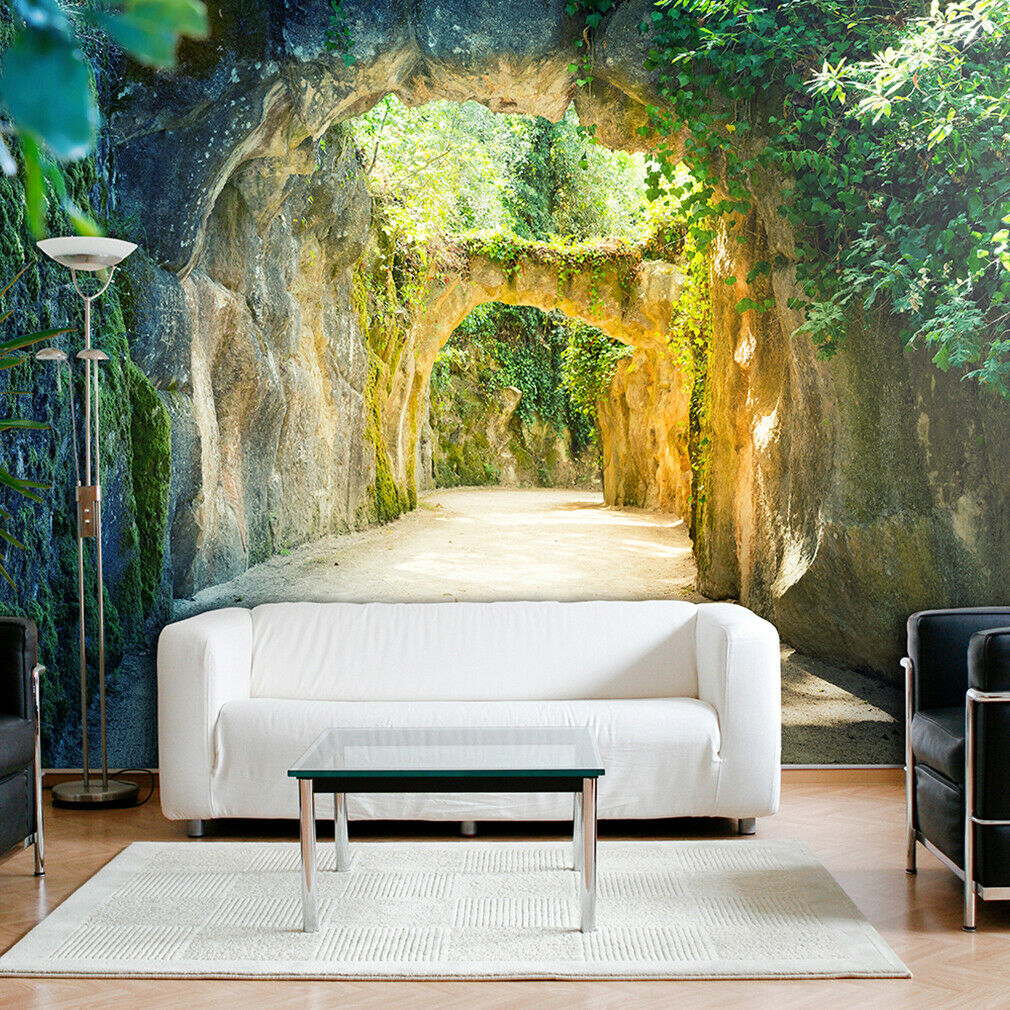 vlies fototapete 3d tunnel gr n natur landschaft tapete stein wandbild xxl eur 6 43 picclick de. Black Bedroom Furniture Sets. Home Design Ideas