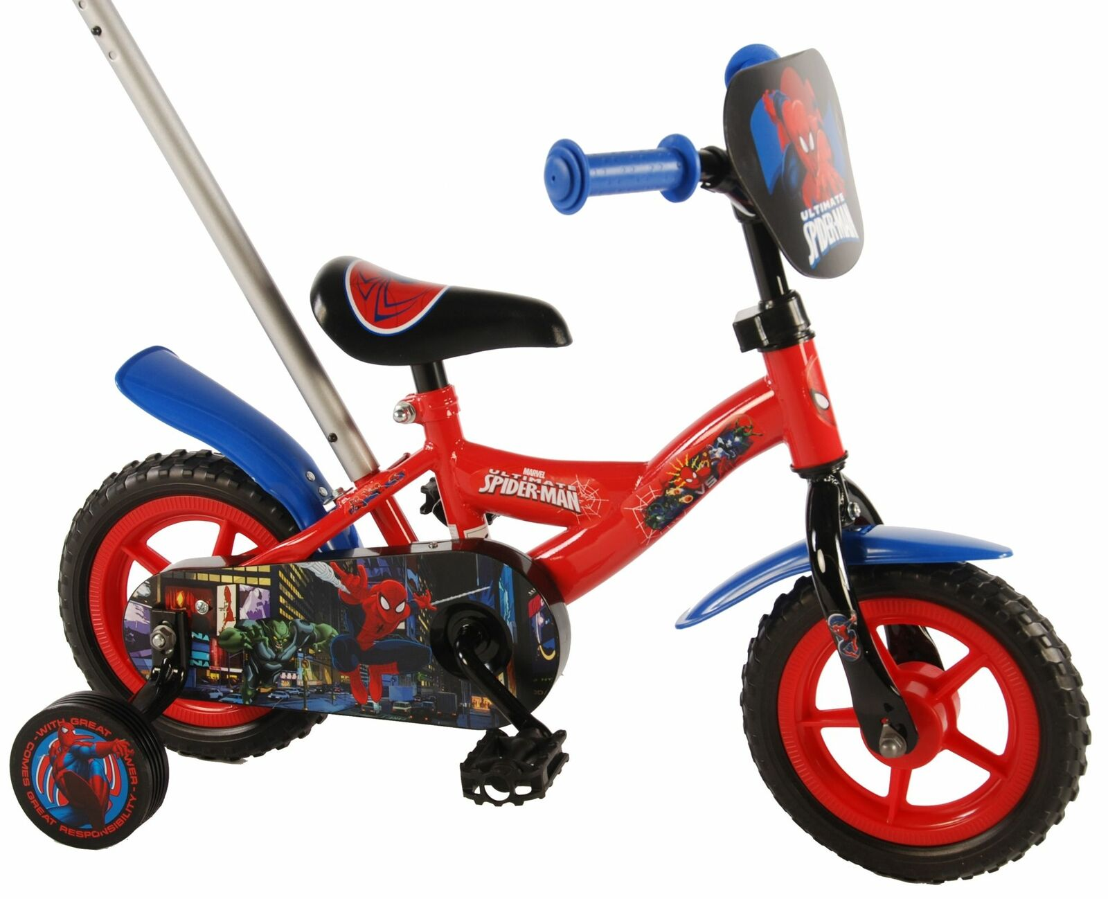 kinderfahrrad spider man 10 zoll fahrrad mit schubstange st tzr der spiderman eur 89 80. Black Bedroom Furniture Sets. Home Design Ideas
