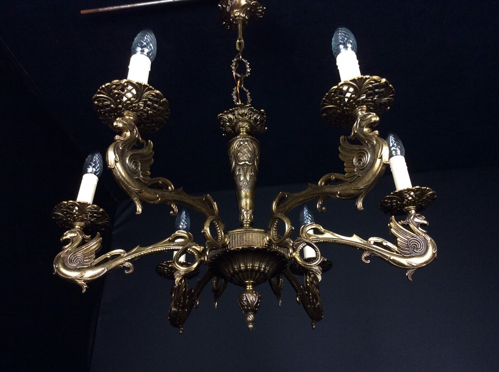 Cora Ceiling Light Bronze 6 Arm : Beautiful large dragon arm french vintage bronze