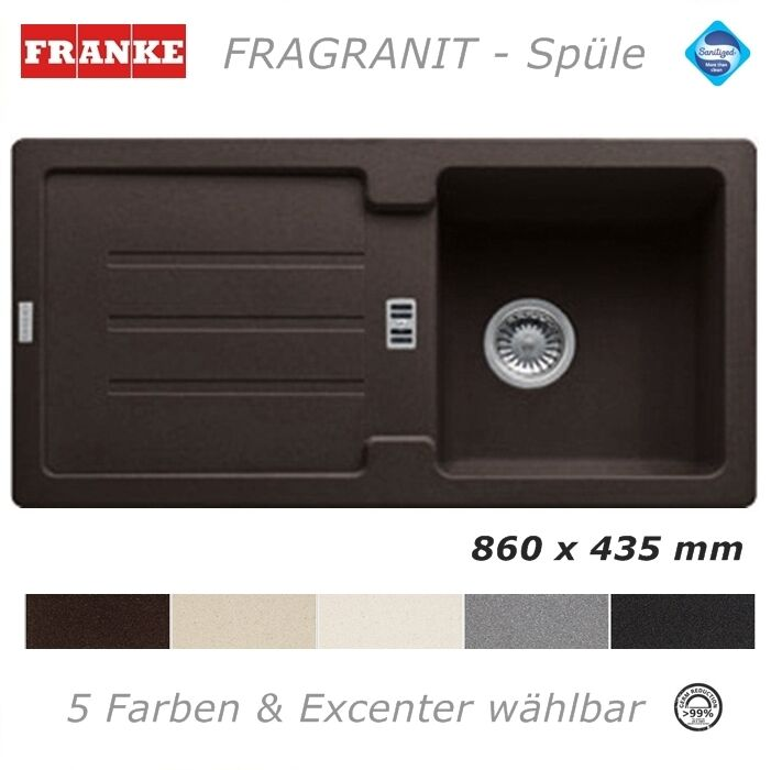 franke fragranit sp le 86 x 43 5 cm granit 5 farben granitsp le einbau k che eur 127 90. Black Bedroom Furniture Sets. Home Design Ideas