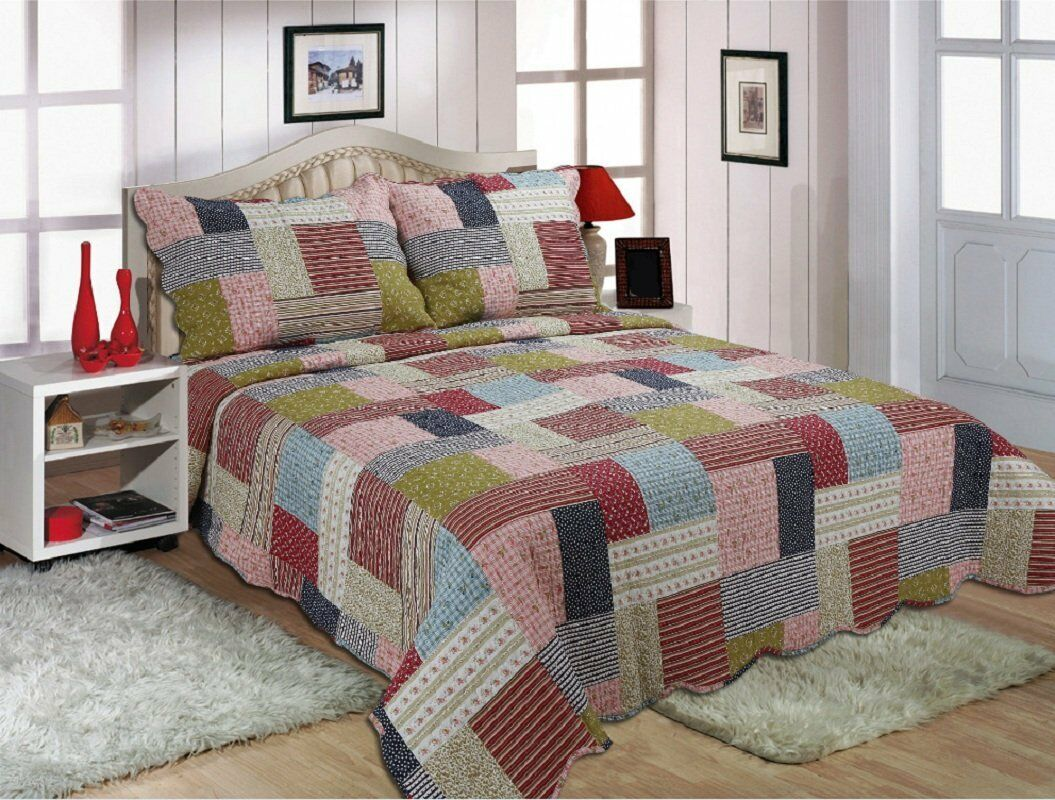 new quilted comforter bedspread patchwork double king size. Black Bedroom Furniture Sets. Home Design Ideas