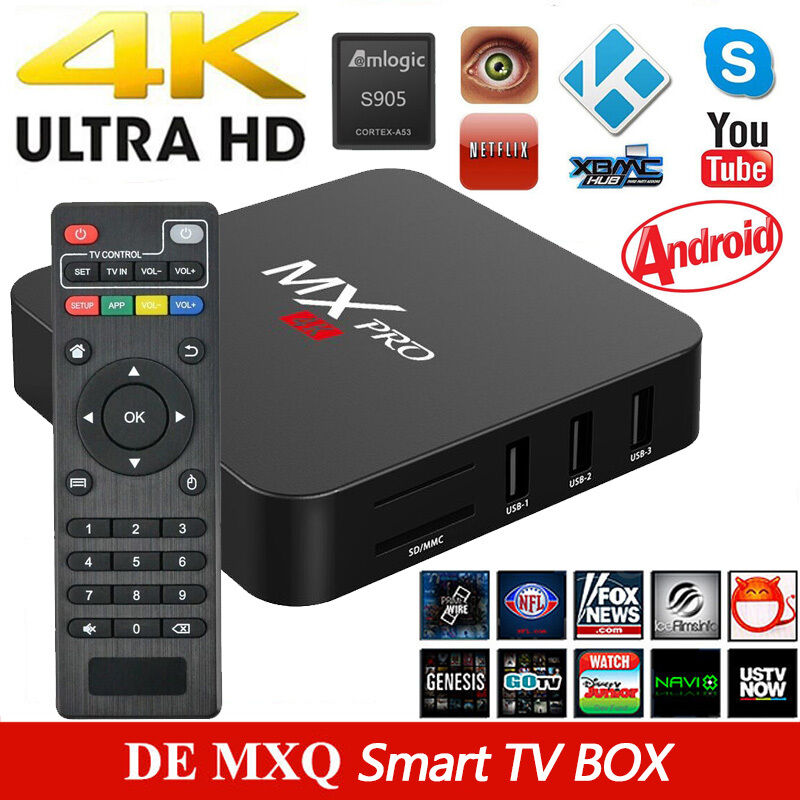 4k mxq smart tv box internet tv quad core s905 android 6 0 hd media player de eur 34 90. Black Bedroom Furniture Sets. Home Design Ideas