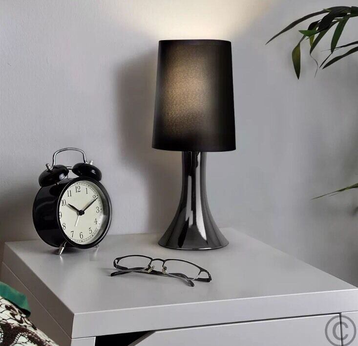 2 x minisun chrome black touch activated bedside table light lamp picclick uk - Black touch lamps bedside ...