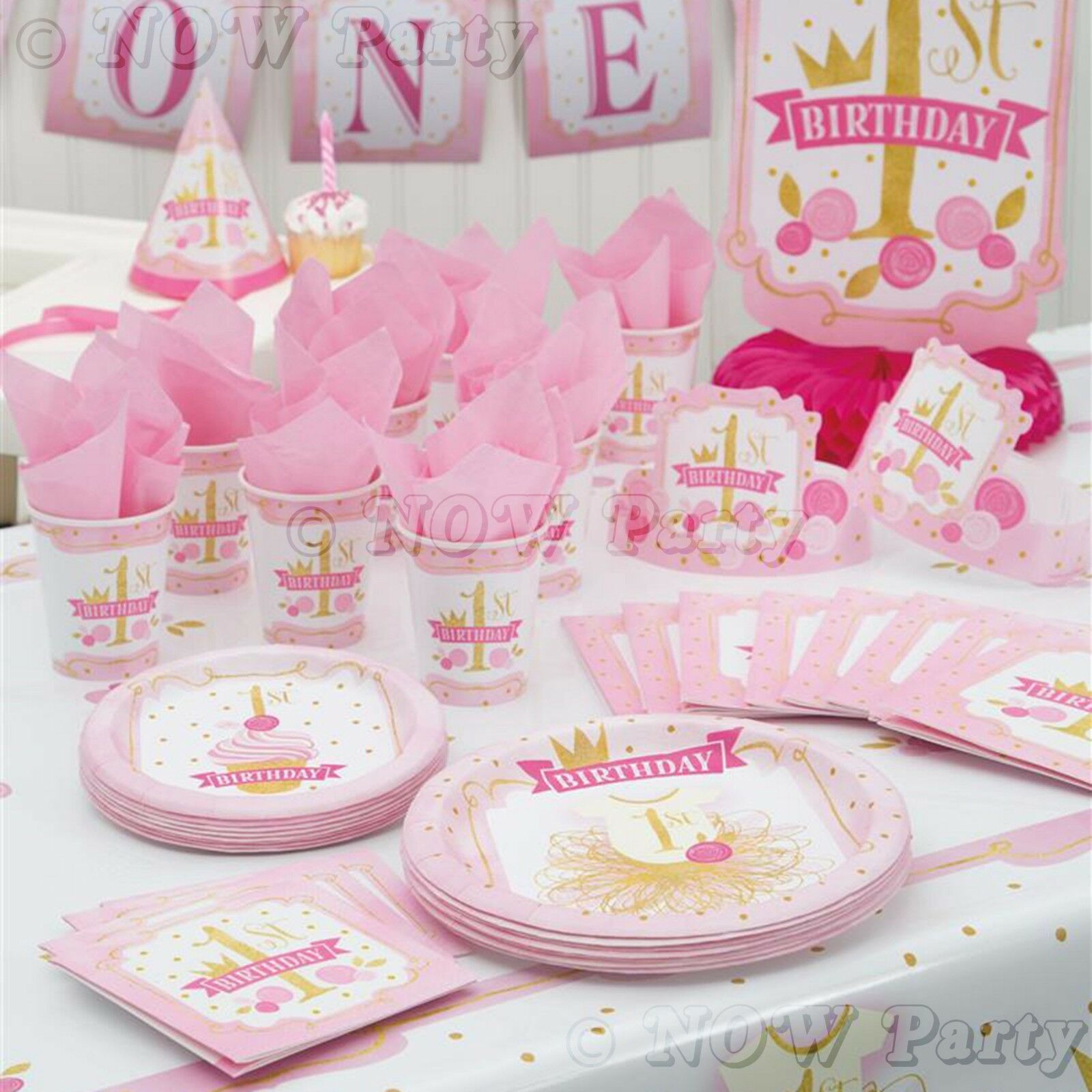 1ST FIRST BIRTHDAY Girls Pink & Gold Party Supplies Tableware ...