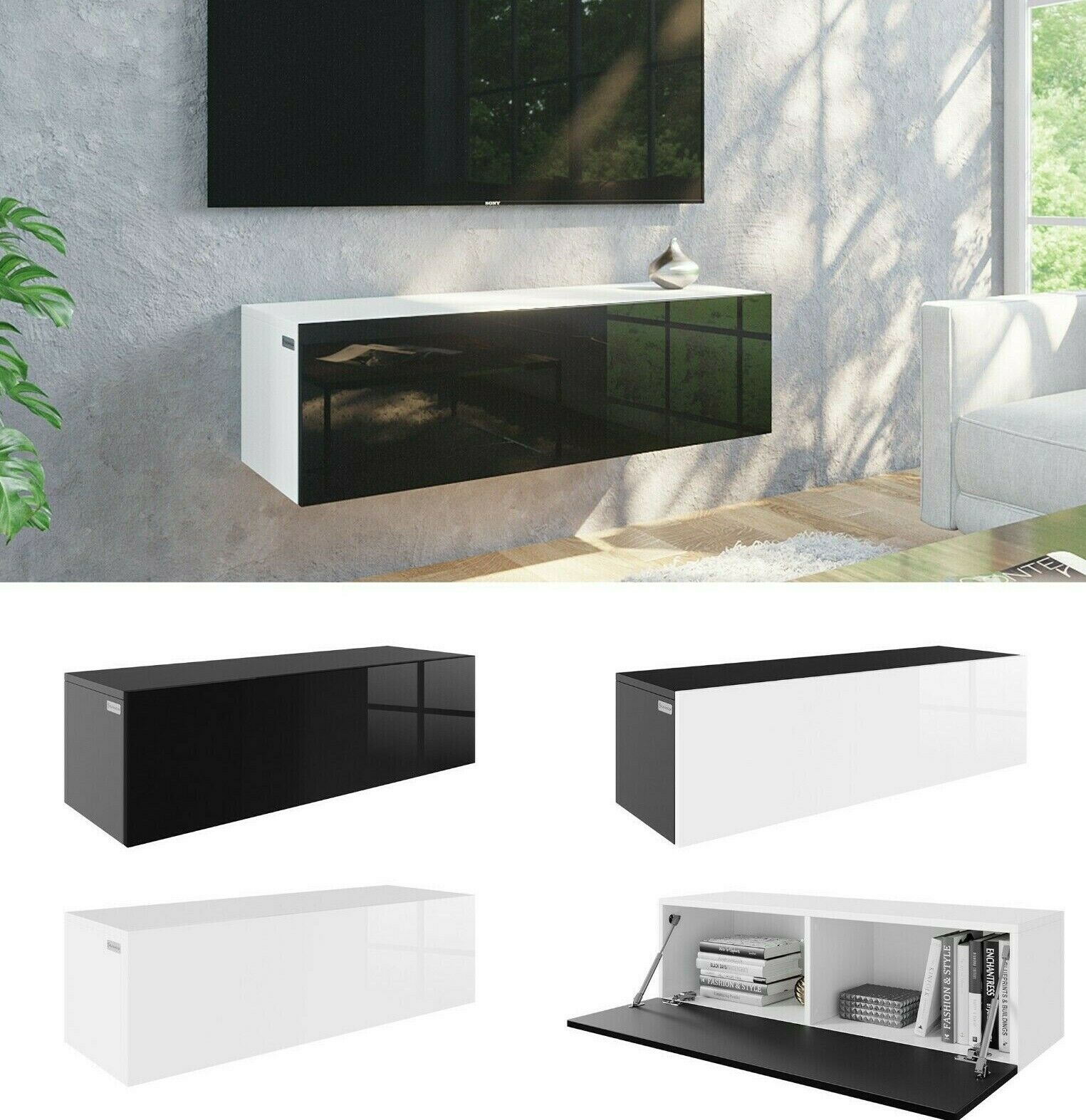 tv h ngeboard lowboard schrank tisch board mit hochglanz 105 cm l nge eur 94 00 picclick de. Black Bedroom Furniture Sets. Home Design Ideas