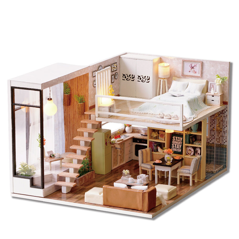 Wooden Miniature Dolls House Doll House Furniture Diy Kit Voice Control English