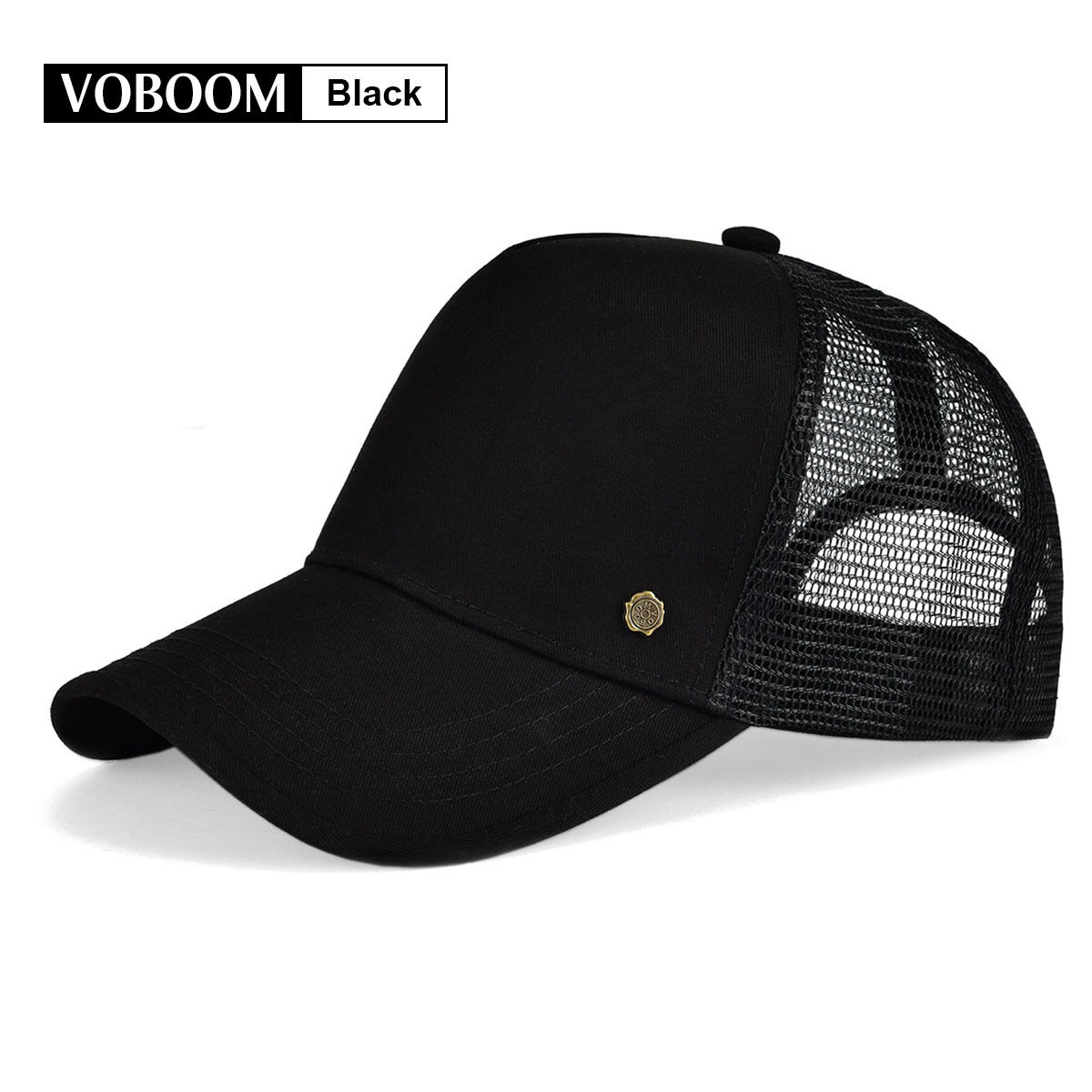 VOBOOM Mens Baseball Cap Solid Black Trucker Hat Mesh Breathable Snapback  Cap 1 of 10FREE Shipping ... 84a59f28c60