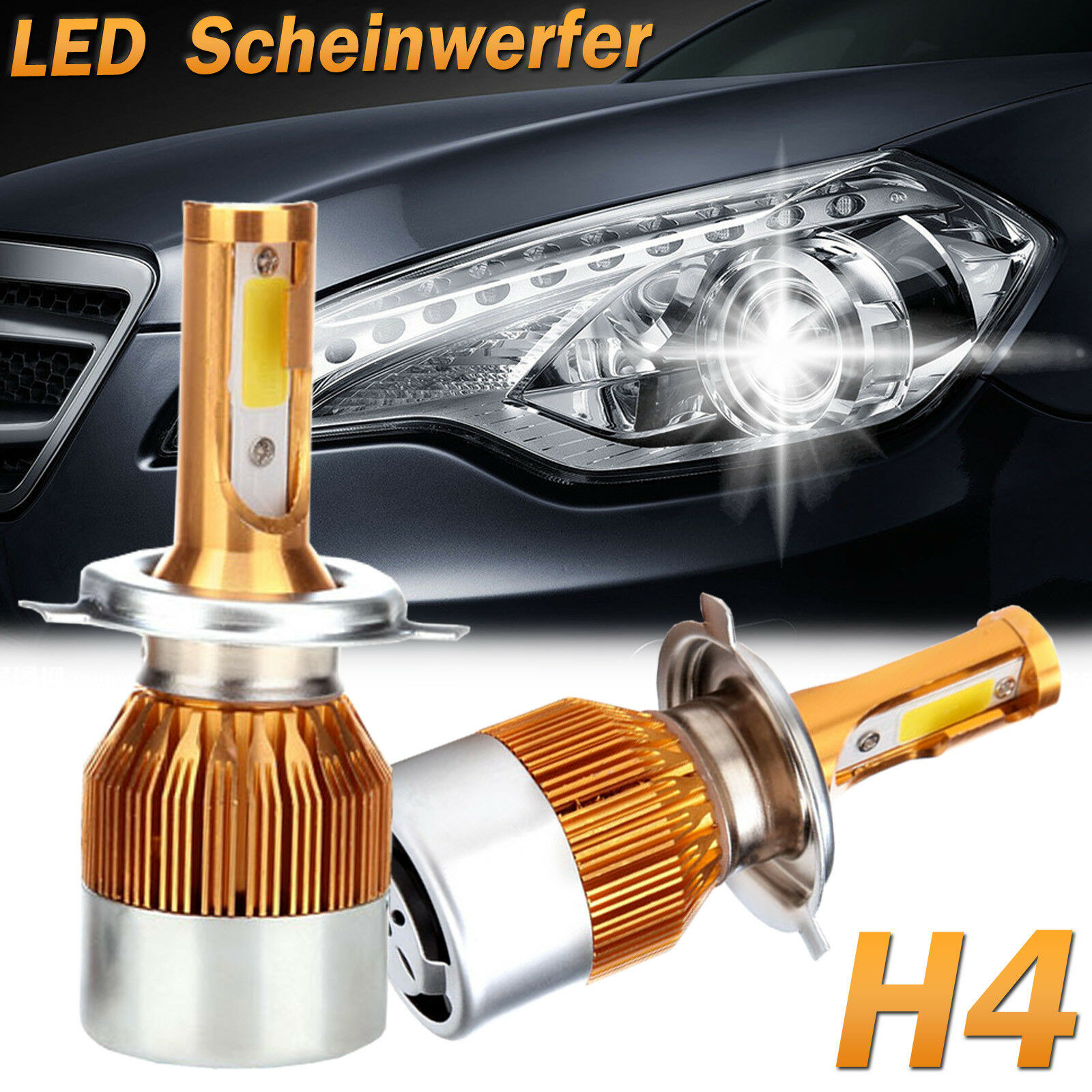 h4 auto scheinwerfer lichter 600w cob led birne set lampe. Black Bedroom Furniture Sets. Home Design Ideas