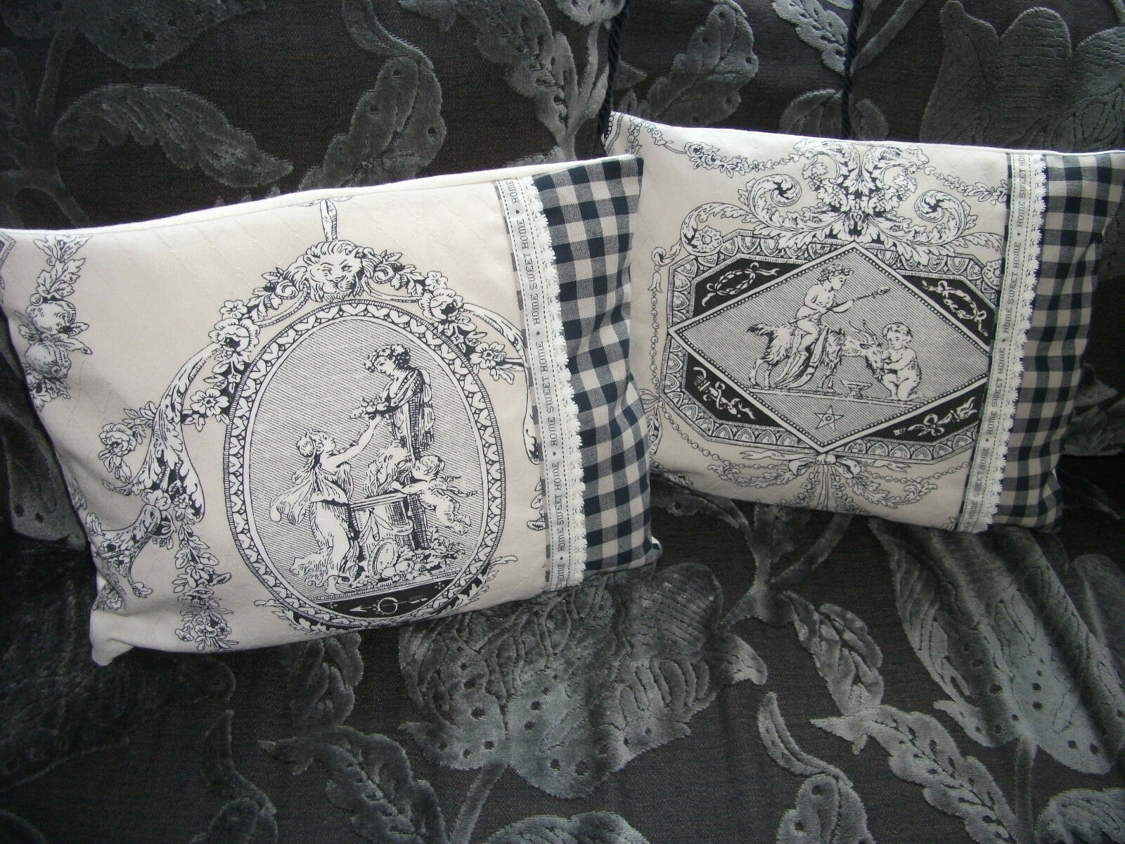 2x lumbar boudoir cushion covers laura ashley toile for Toile shabby chic