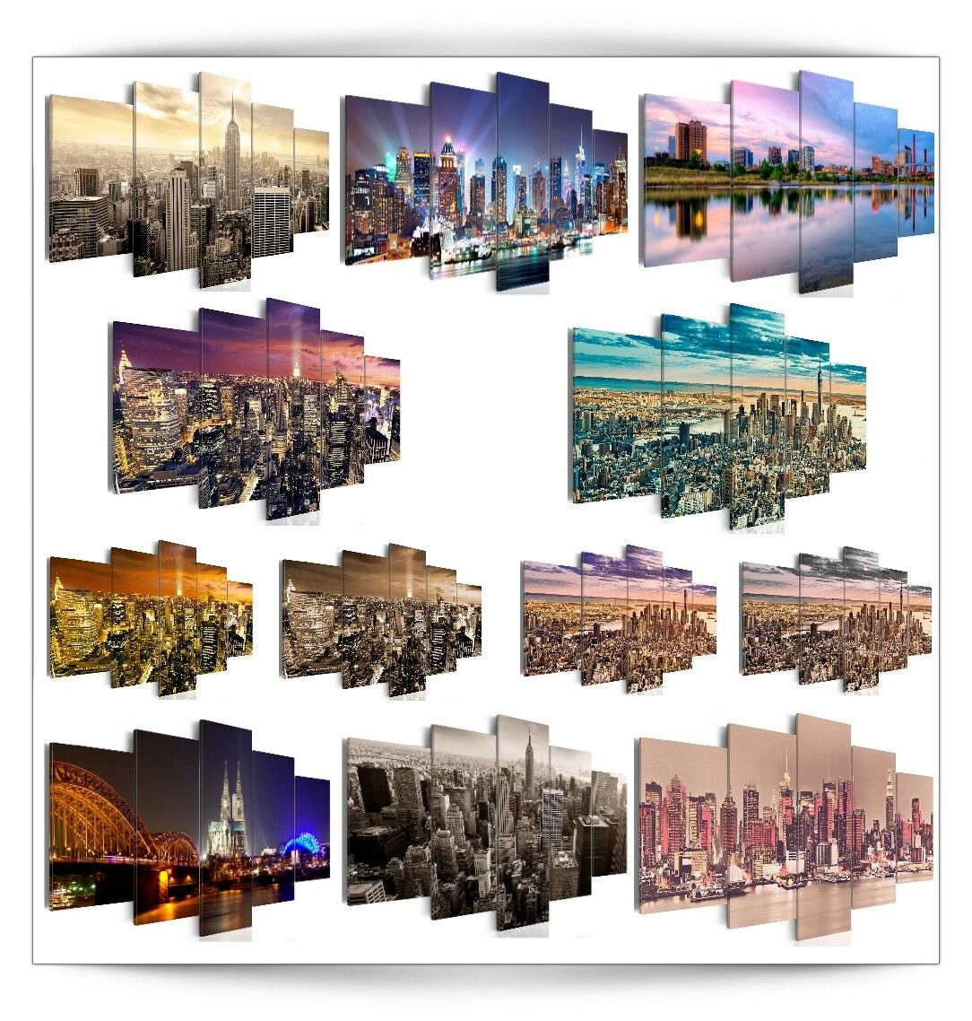 bilder leinwand bild new york stadt panorama wandbilder kunstdruck gro e auswah eur 22 99. Black Bedroom Furniture Sets. Home Design Ideas