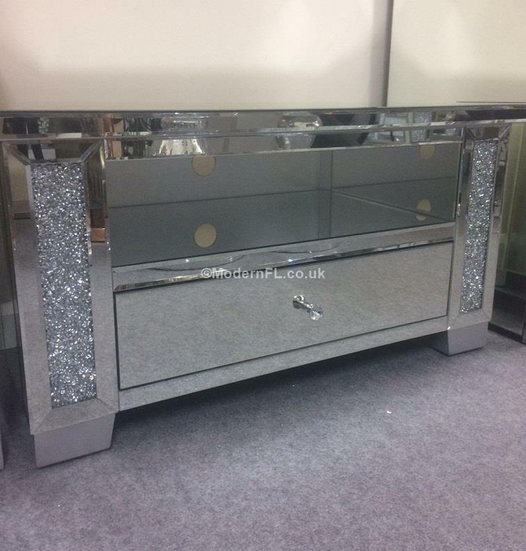 Diy Mirror Tv Cabinet: VENETIAN MIRRORED WITH Crushed Crystal Corner Tv Stand