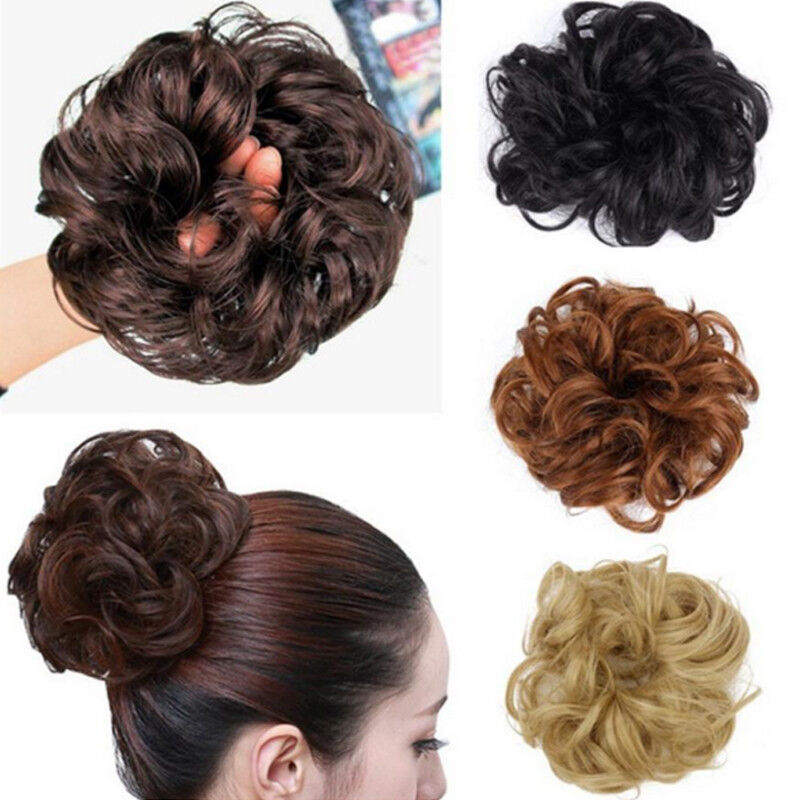 Hot Womens Curly Wave Hair Bun Clip Comb In Hair Extension Chignon
