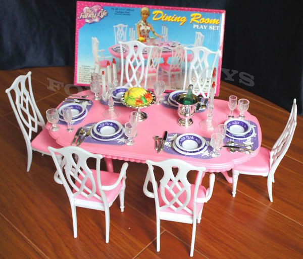 Superieur GLORIA DOLLHOUSE FURNITURE 6 CHAIRS DINING ROOM W/ Spoons PLAYSET FOR  BARBIE 1 Of 4 GLORIA DOLLHOUSE FURNITURE ...