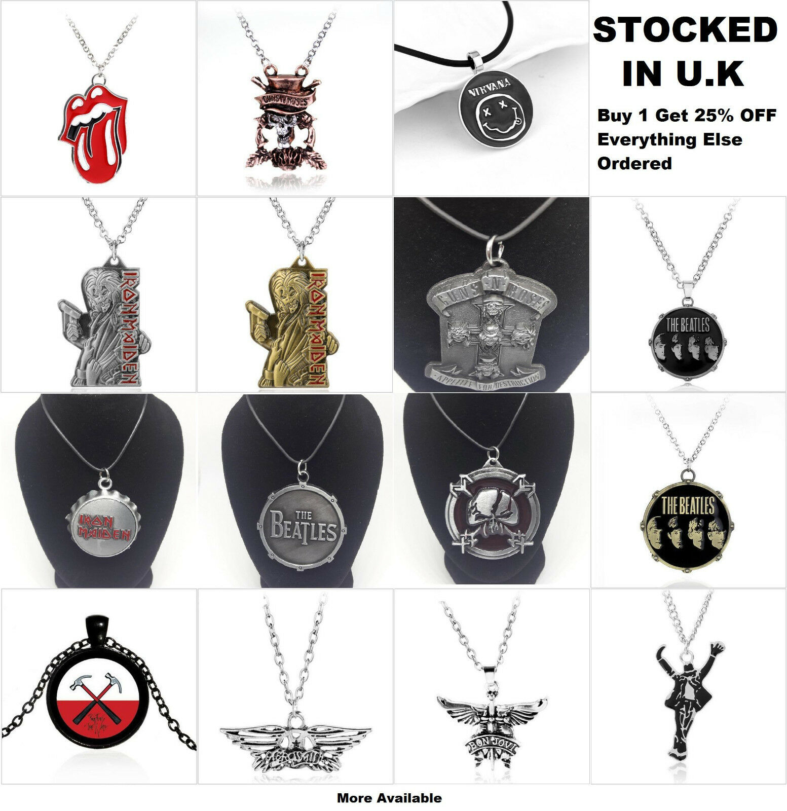 BANDS MUSIC JEWELLERY Guns N\' Roses Iron Maiden The Beatles Pendant ...