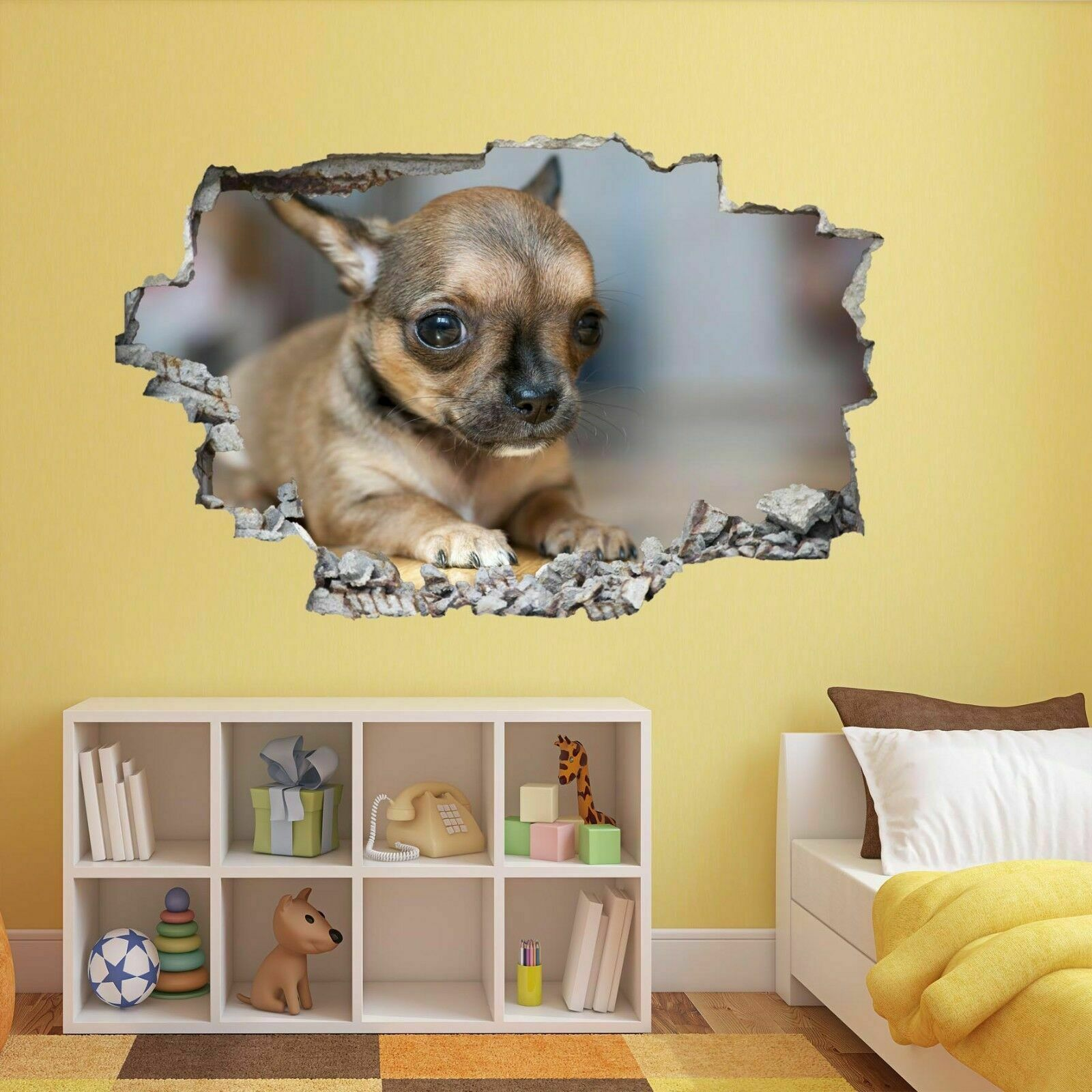 CHIHUAHUA PUPPY DOG Animal 3D Wall Sticker Mural Decal Kids Room ...