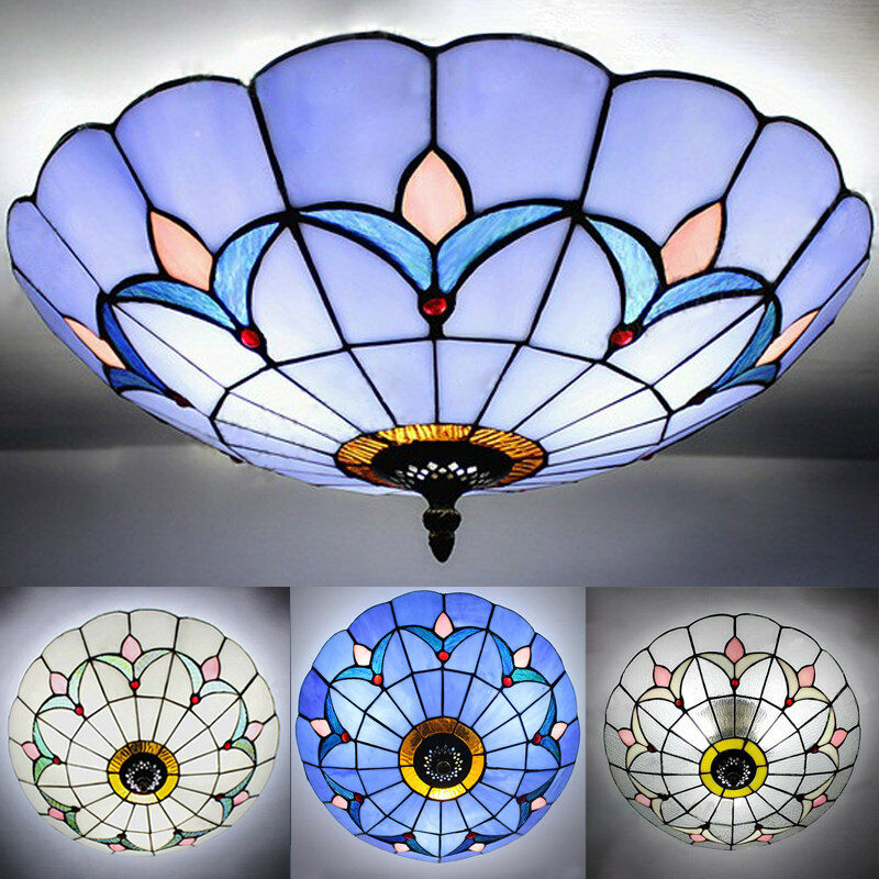 Vintage stained glass flush mount ceiling light antique tiffany vintage stained glass flush mount ceiling light antique tiffany ceiling lamp 1 of 7free shipping aloadofball Choice Image