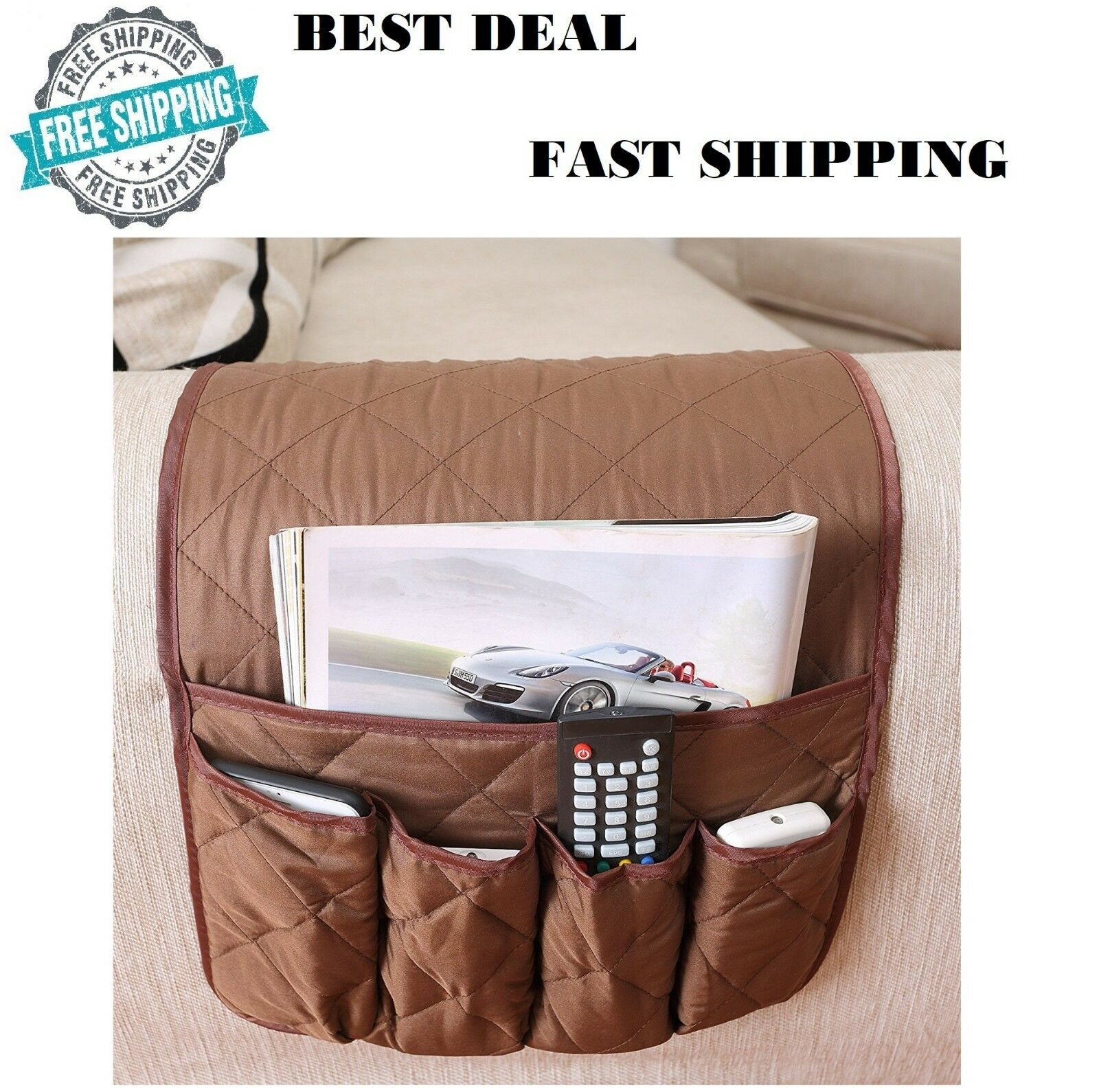 Remote Control Caddy Arm Chair Holder Storage Organizer Armrest Couch Pocket 1 Of 8free
