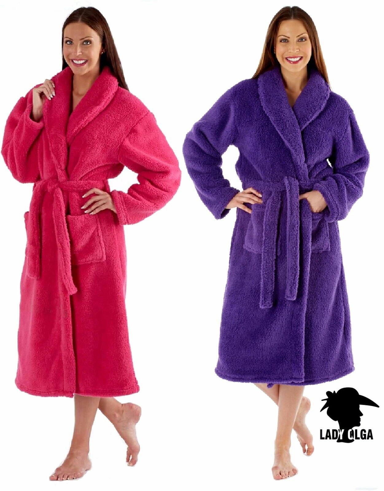 LADIES LUXURY SOFT Feel Coral Fleece Dressing Gown Robe Wrap Pink Or ...