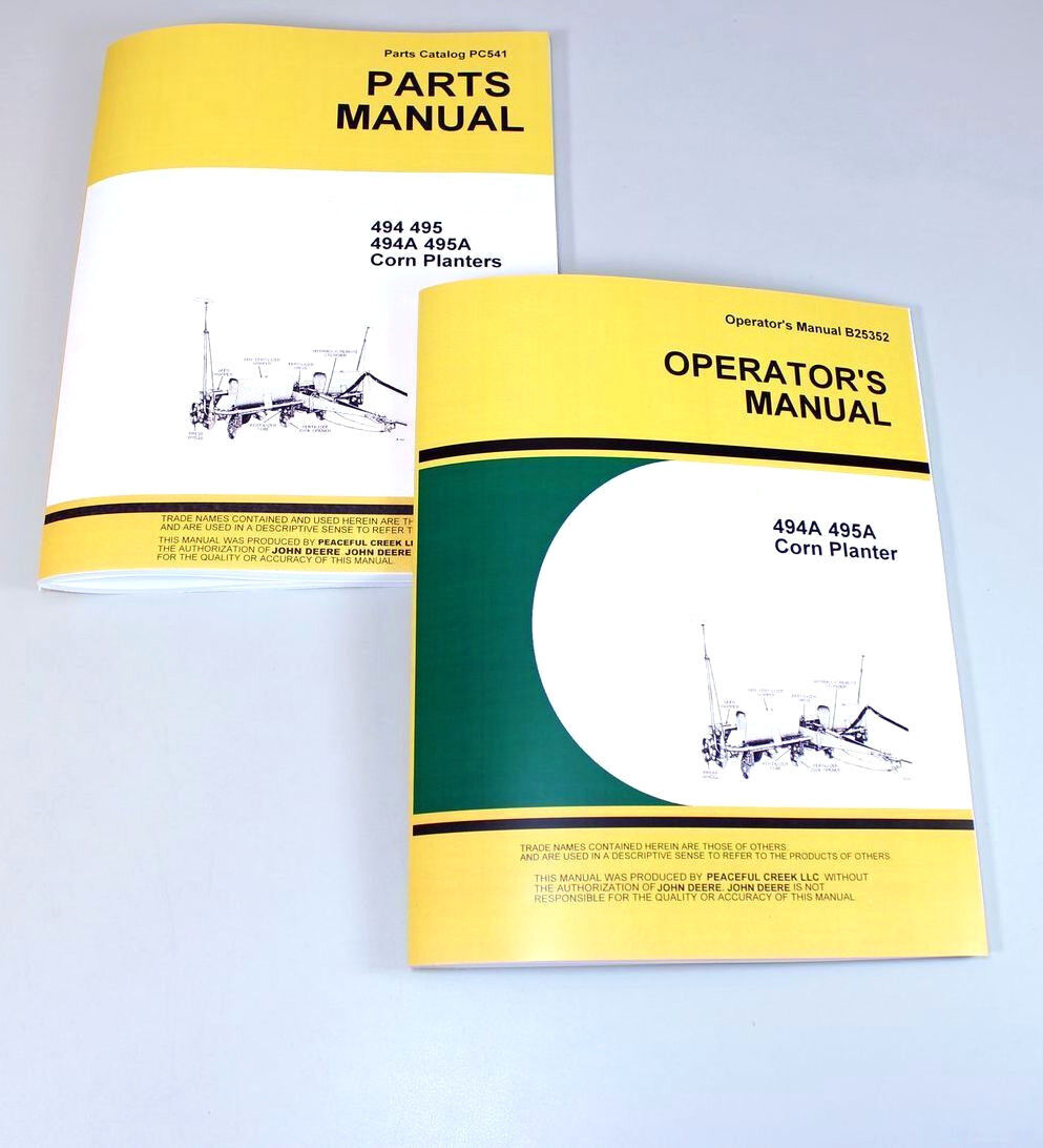 Operators Parts Manual For John Deere 494A 495A Corn Planter Owners Catalog  Seed 1 of 11FREE Shipping See More