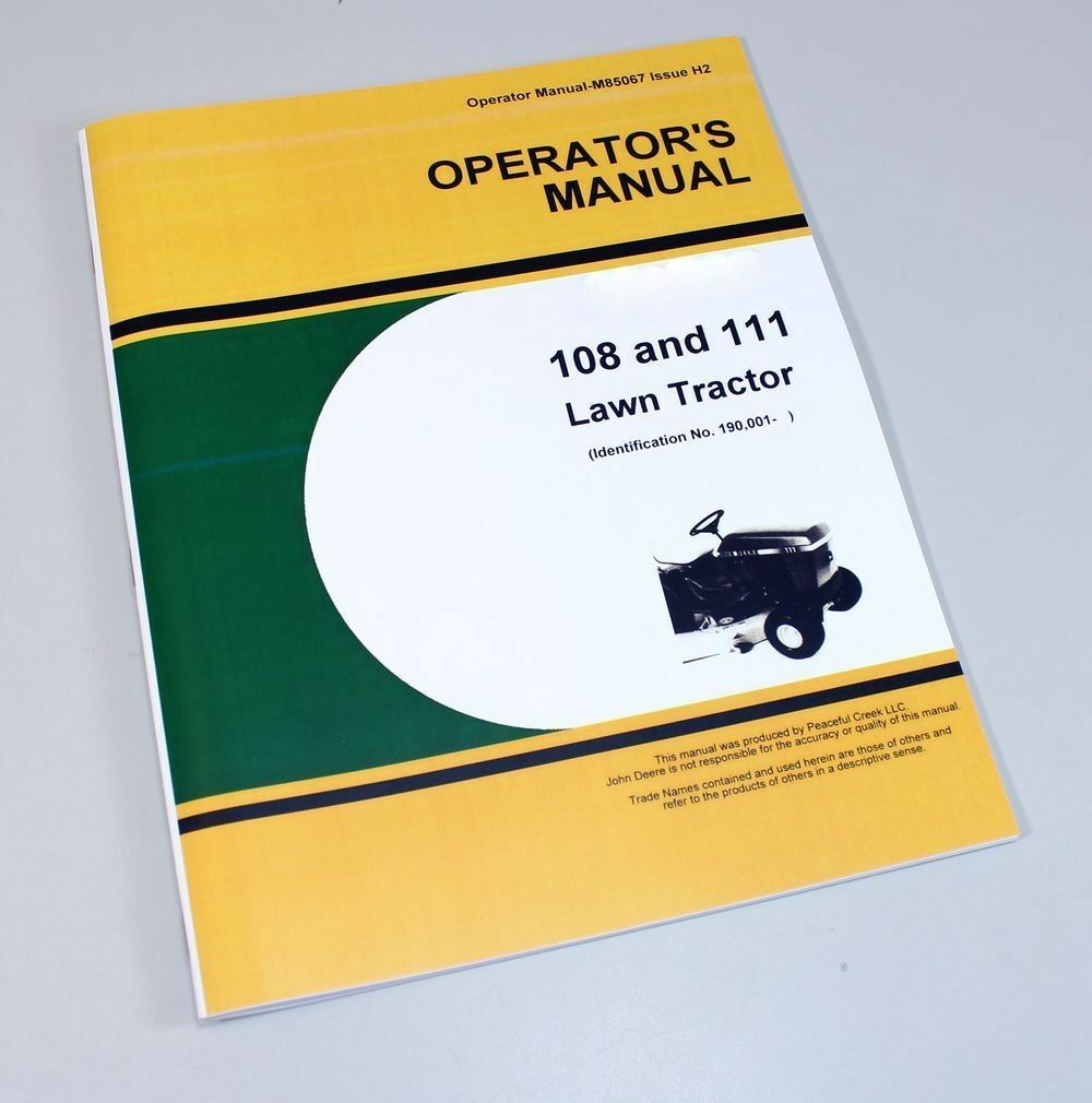 Operators Manual For John Deere 108 111 Lawn Tractor Owners 1 of 6FREE  Shipping ...