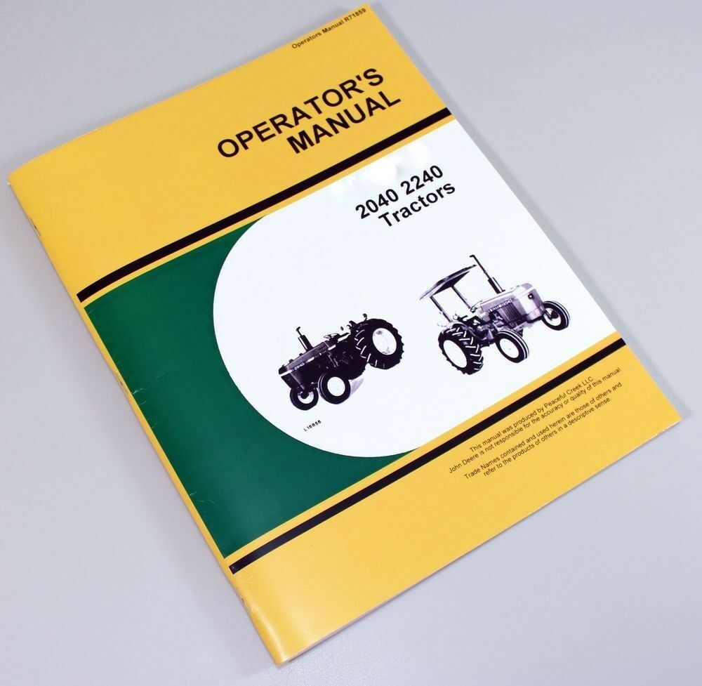 Operators Manual For John Deere 2040 2240 Tractor Owners Maintenance 1 of  7FREE Shipping ...