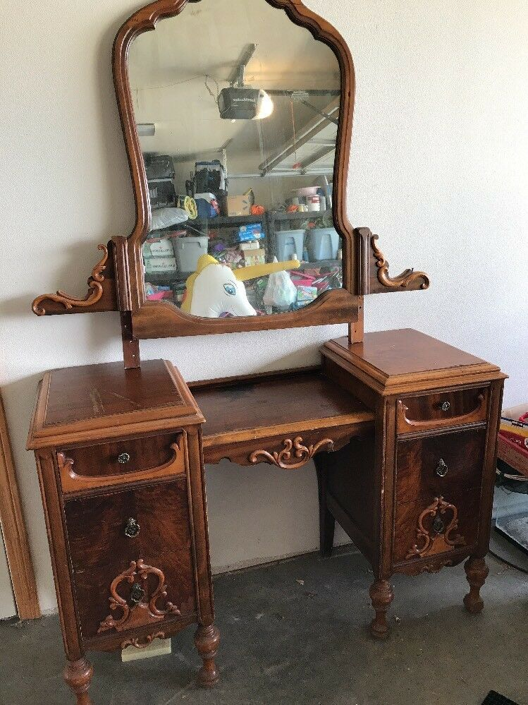 Antique Vanity Dresser With Mirror PICK UP ONLY NO SHIPPING 1 of 12 ... - ANTIQUE VANITY DRESSER With Mirror PICK UP ONLY NO SHIPPING