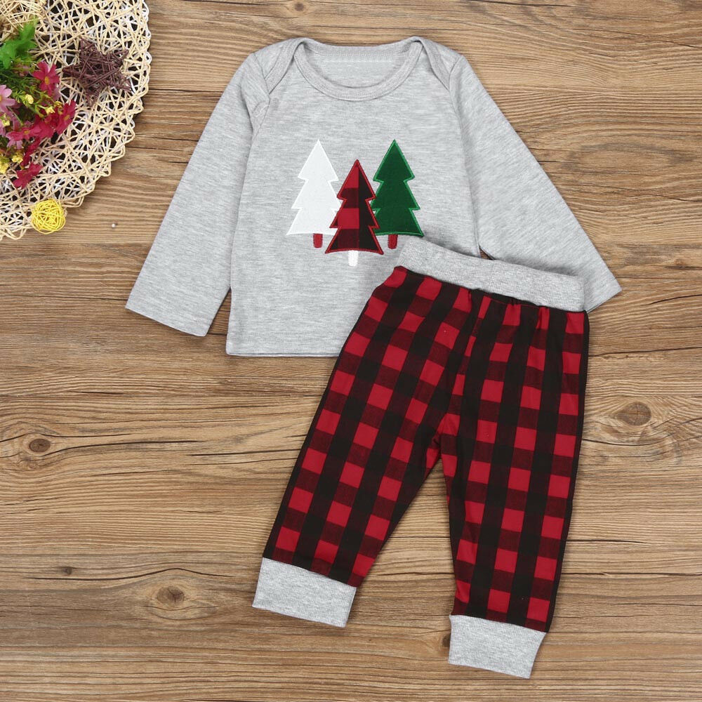 KIDS BABY BOY Long Sleeve Christmas Clothes Set T-shirt+Plaid Pants ...