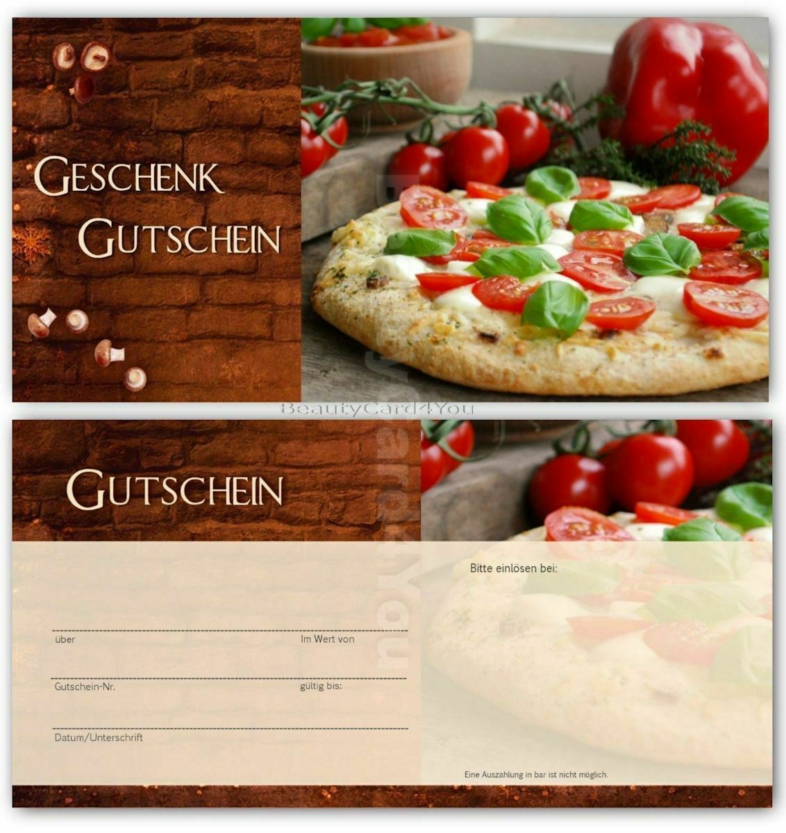 100 st geschenkgutschein gastronomie restaurant essen gastro pizza pizzeria eur 19 90. Black Bedroom Furniture Sets. Home Design Ideas