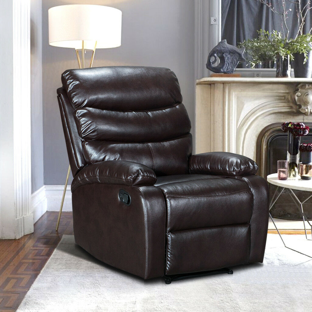 Luxury bonded leather match upholstered recliner armchair for Bonded leather chaise lounge