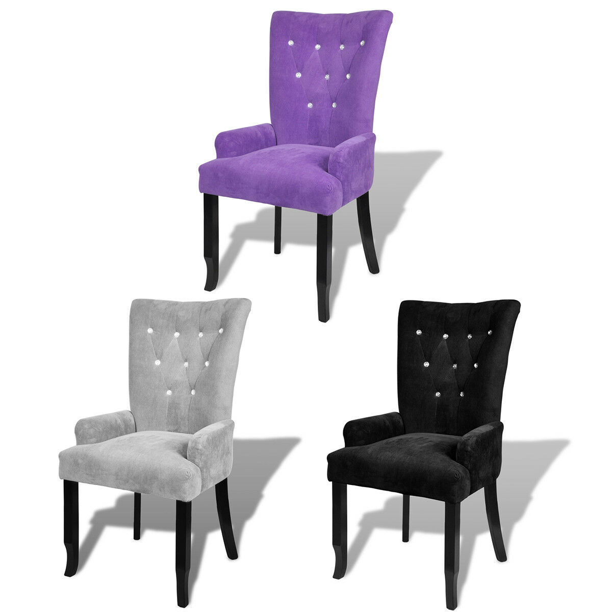 Luxury High Back Dining Chair Tufted Velvet Accent Armchair Purple Black Silver 1 Of 10free Shipping See More