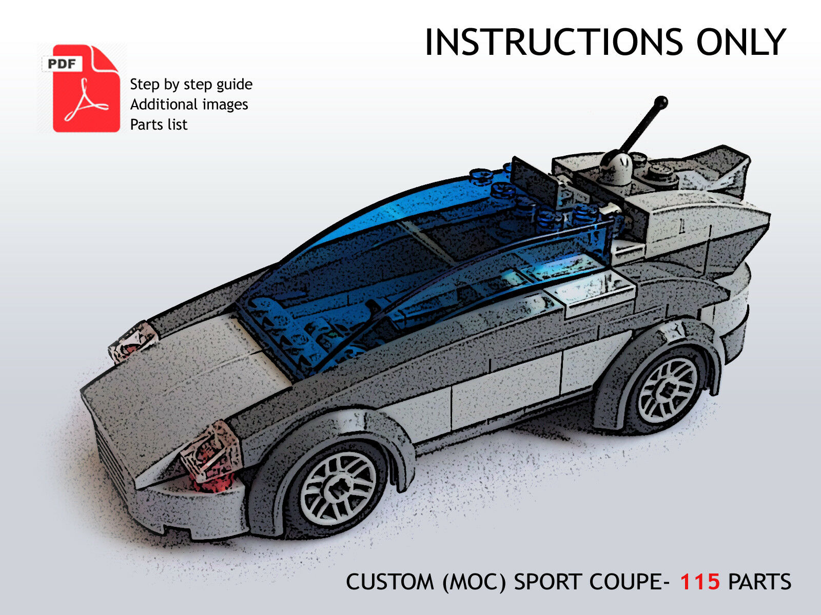 Lego Custom Moc Car Sport Coup Pdf Instructions Only 425