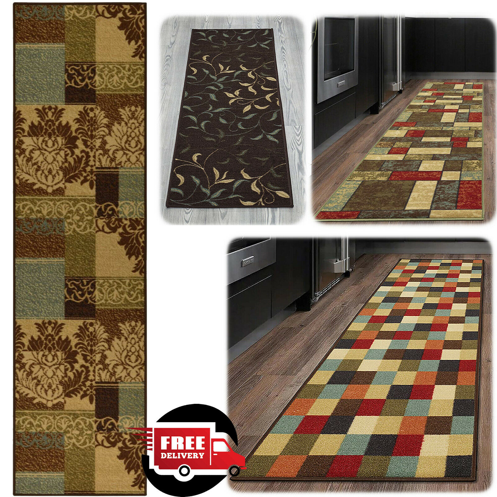 Hallway Rug Runners 20x59 Kitchen Area Carpet Non Slip Rubber Long Floor Mat 1 Of 11free Shipping See More