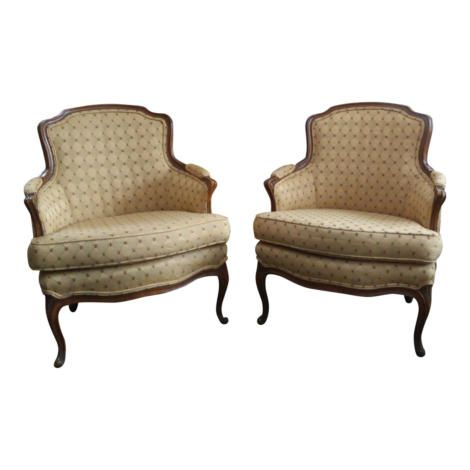 Pair Of French Louis XIV Style Upholstered Bergere Chairs