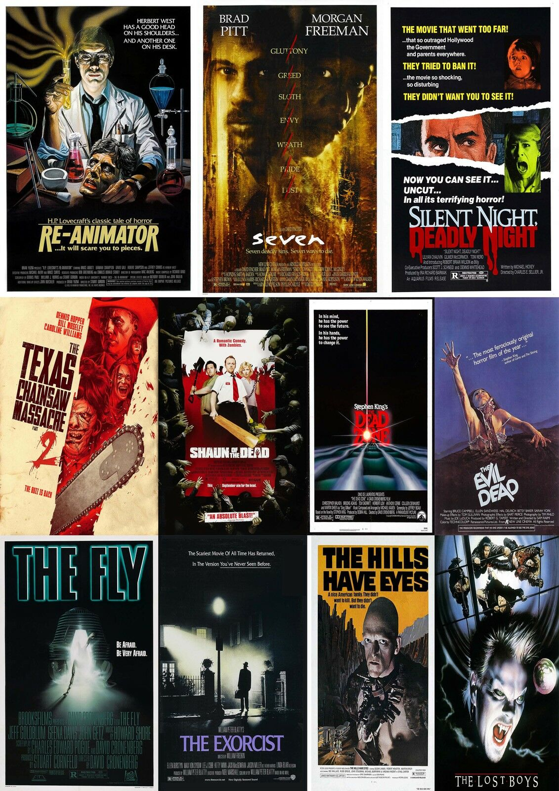 HORROR MOVIE Poster Collection 3/Wall Art:Laminated:A4 ...