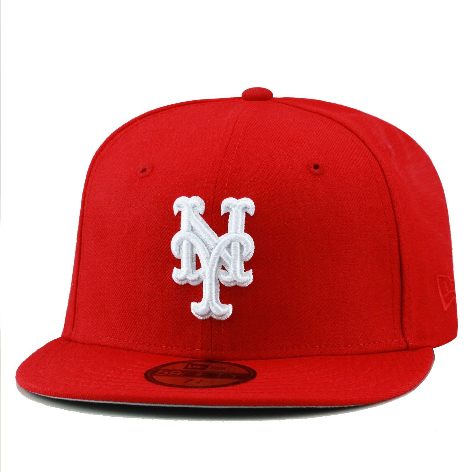 d7d2ae1d31124 New Era New York Mets MLB Fitted Hat Cap All RED White 1 of 3FREE Shipping  ...