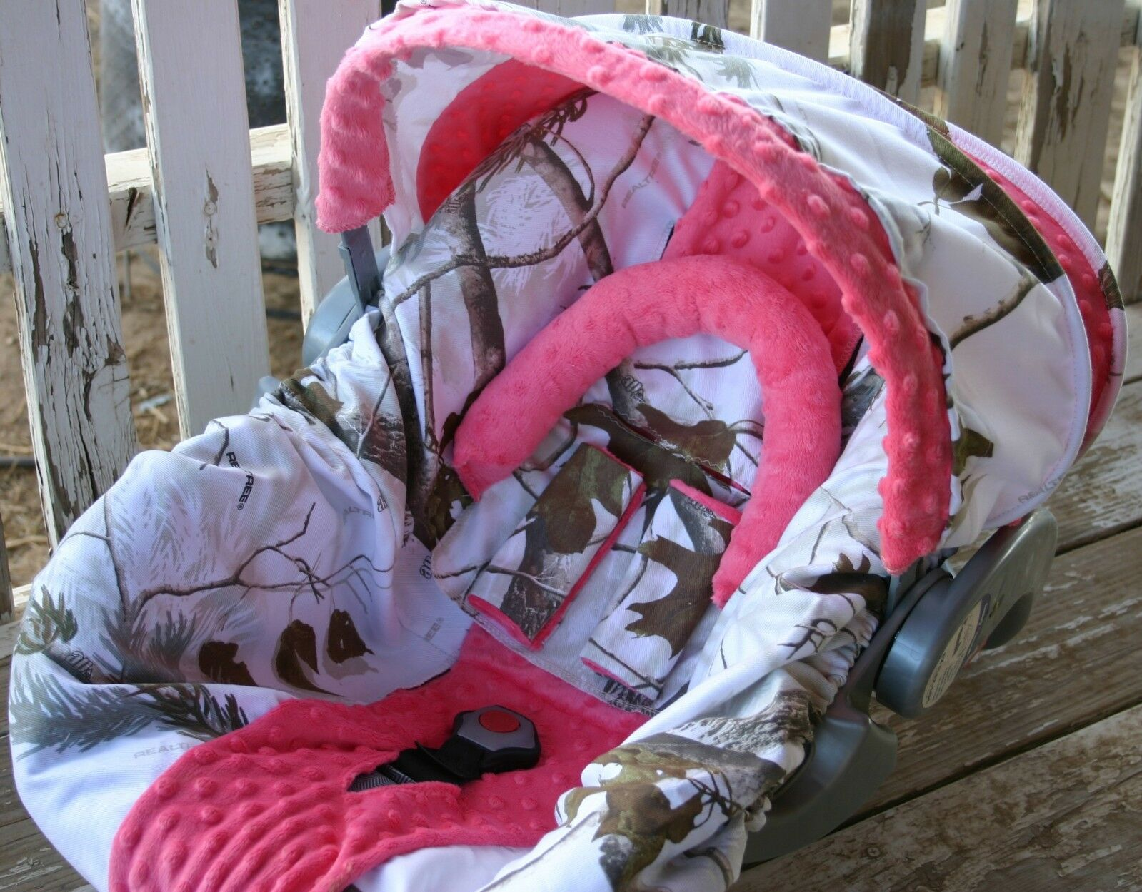 Infant Car Seat Cover And Hood Realtree Snow Camo With Coral Minky 1 Of 3Only Available