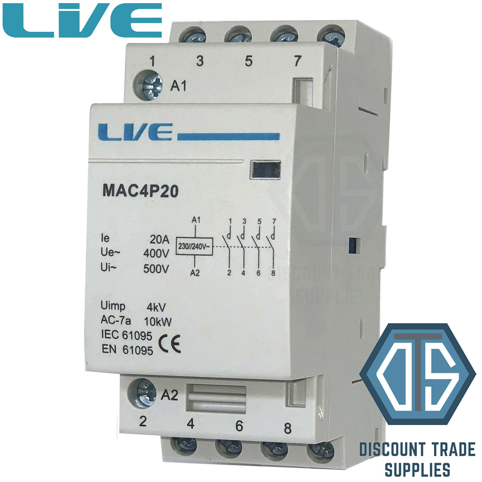20 AMP 4 Pole Contactor AC 10kW Normally Open DIN Rail Mount Heating ...